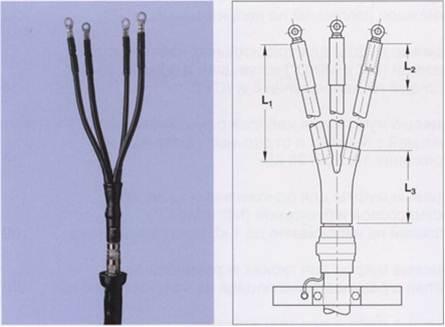 Концевые муфты для кабелей с бумажной и пластмассовой изоляцией на напряжение до 1 кВ