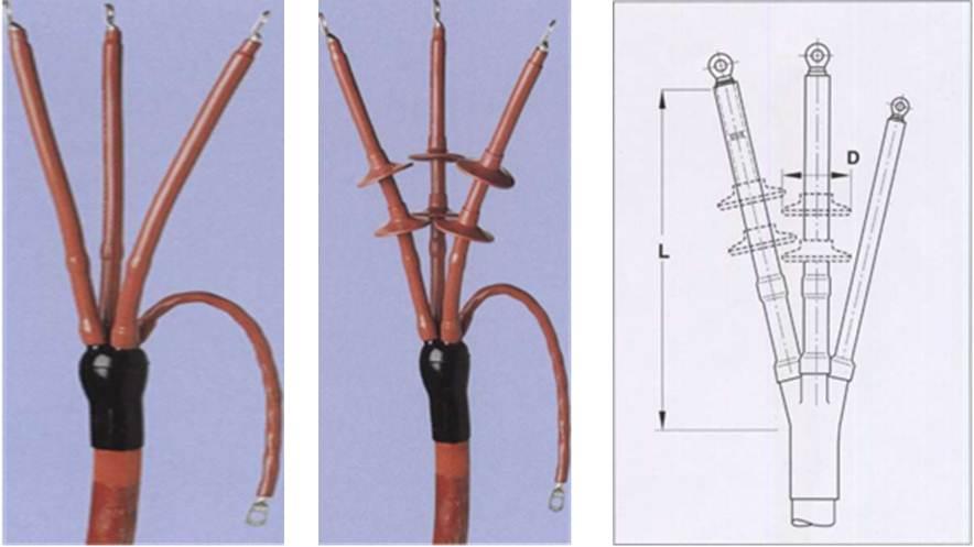 Концевые муфты для трехжильных неэкранированных кабелей с пластмассовой изоляцией на напряжение 6 кВ